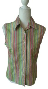 JG Hook Stretchy Sleeveless Classic Striped Vintage Button Down Shirt Stripes-Pink/Green/Yellow/Blue