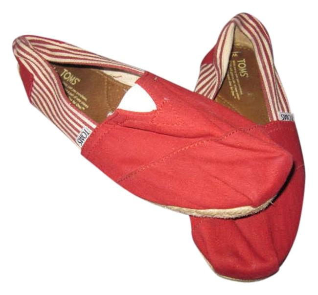 Item - University Red Canvas/Red & White Stripe/ Rope Sole Classic Flats Size US 9