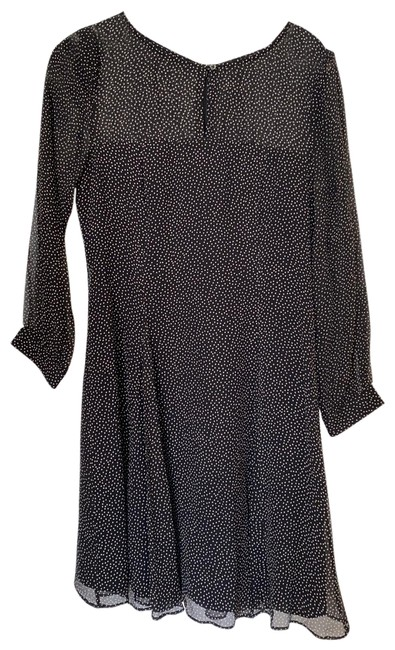 Item - Dark Navy and Cream Dots Long Sleeve Mid-length Cocktail Dress Size 2 (XS)