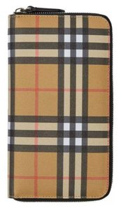 Burberry NEW BURBERRY VINTAGE CHECK & LEATHER ZIP AROUND OVERSIZED CLUTCH WALLET UNISEX