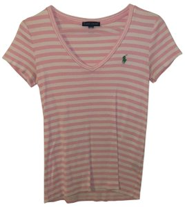 Ralph Lauren T Shirt Pink and White