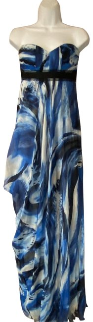 Item - Blue Strapless Printed Silk Long Night Out Dress Size 2 (XS)