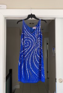 Adrianna Papell Royal Blue with Sequins Short Sexy Bridesmaid/Mob Dress Size 6 (S)