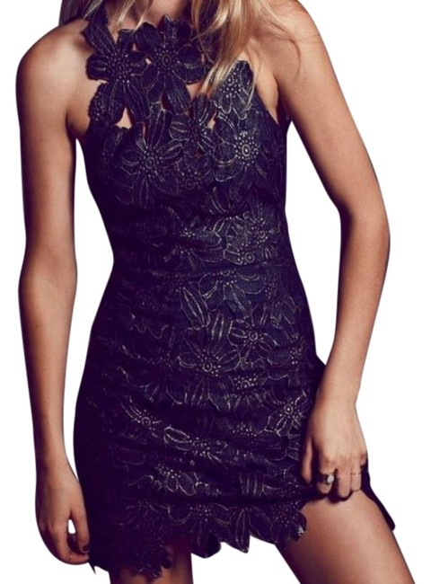 Item - Black Silver Jessa Foil Lace Short Night Out Dress Size 4 (S)