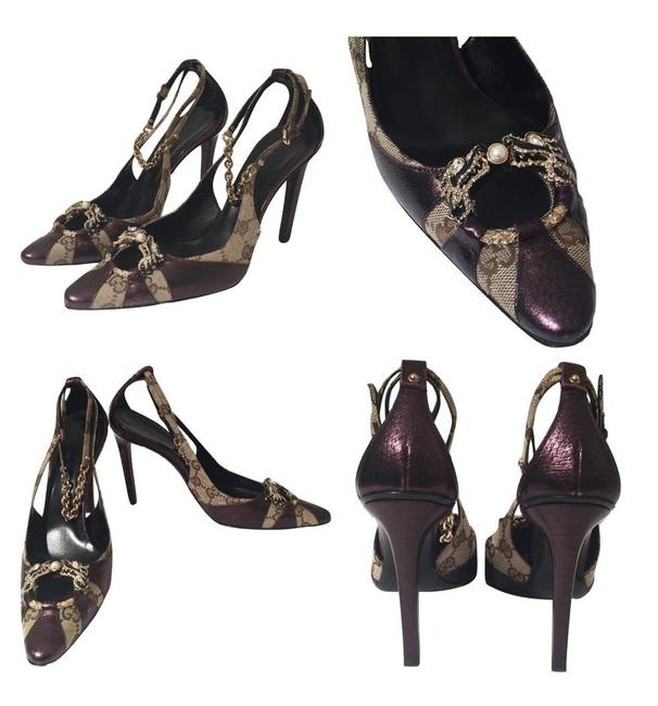 Item - Purple Canvas Monogram Tom Ford Runway Iconic Dragon Heels Collectors Item Pumps Size US 7 Regular (M, B)