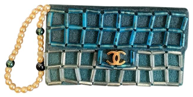 Item - Blue/ Gold Vintage Cc Logo Purse Pin Brooch