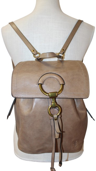 Item - Deauville Canvas Denim Sequin Large Taupe Leather Backpack