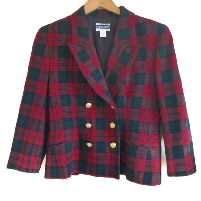 Item - Red and Green Vintage Plaid Blazer Size Petite 10 (M)