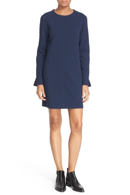 Item - Navy Button Sleeve Crepe Shift Short Night Out Dress Size 12 (L)