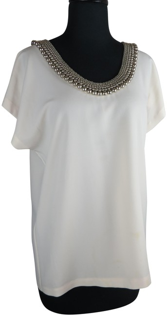 Item - Silver and Cream Blouse Size 10 (M)