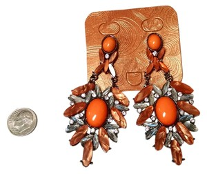 New Large Earrings 3.5 Inch Orange Silver Crystals Summer Jewelry J844
