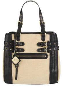 Mark & James by Badgley Mischka Faux Shearling Leather Zipper Tote in Beige/ Black