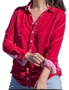 CP Shades Velvet Silk Button Up Button Down Shirt Pink