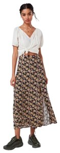 Urban Outfitters Maxi Skirt Floral with black background