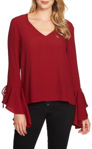 1.STATE Monochrome Longsleeve Keyhole Cotton Crepe Top Red