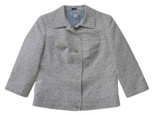 Talbots Beige with tan, light blue & beige polka dots Blazer