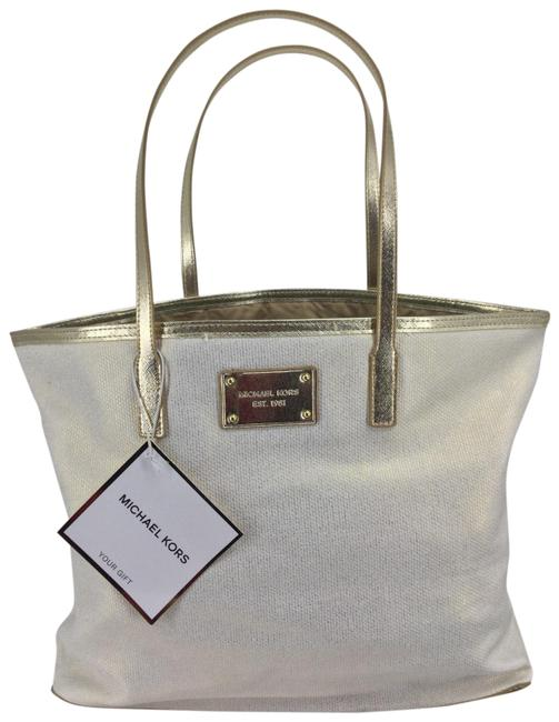 Item - Dust Ivory/Gold Canvas Tote