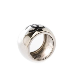 Chanel Silver Cc Heart Black Resin Tone Wide Band Size 55 Ring
