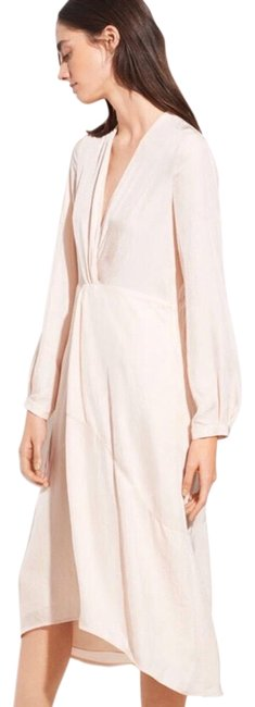 Item - Blush Twist Pink Peach Long Sleeve Front Midi Mid-length Night Out Dress Size 4 (S)