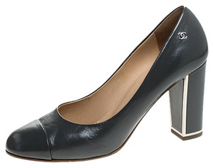 Chanel Leather Cap Toe Grey Pumps