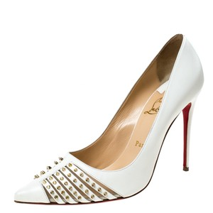 Christian Louboutin Leather Spike Pointed Toe White Pumps