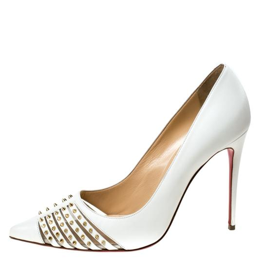 Christian Louboutin Leather Spike Pointed Toe White Pumps Image 1