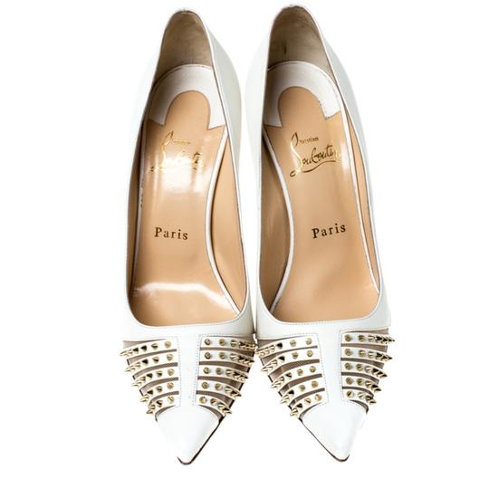 Christian Louboutin Leather Spike Pointed Toe White Pumps Image 2