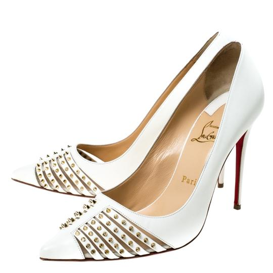 Christian Louboutin Leather Spike Pointed Toe White Pumps Image 3
