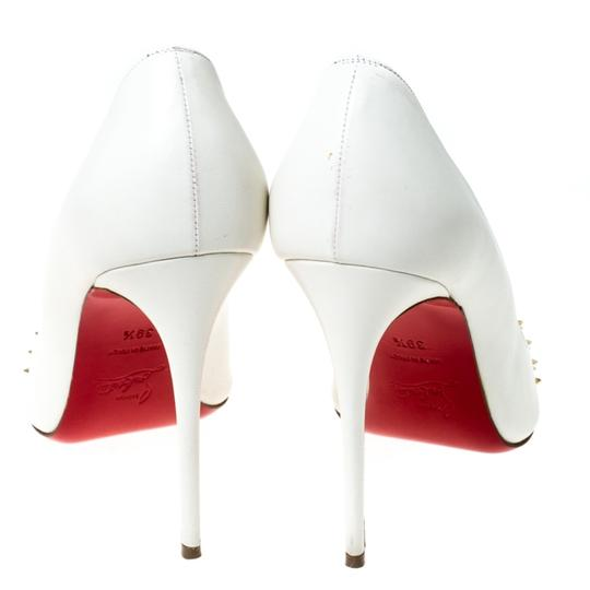 Christian Louboutin Leather Spike Pointed Toe White Pumps Image 4