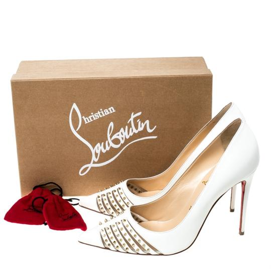 Christian Louboutin Leather Spike Pointed Toe White Pumps Image 7