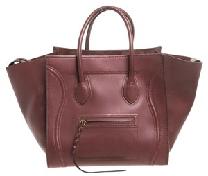 Céline Leather Suede Tote in Burgundy
