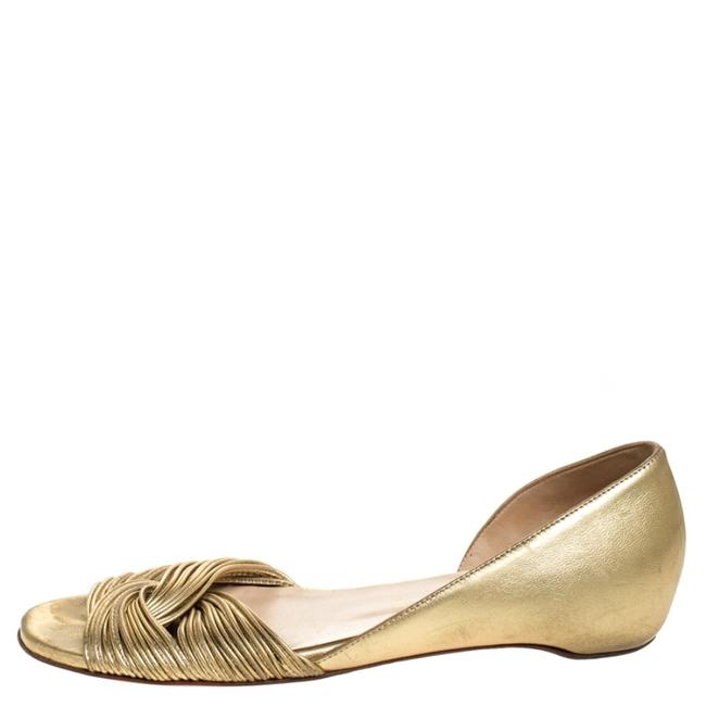 Item - Gold Metallic Leather Open Flats Size US 7.5 Regular (M, B)