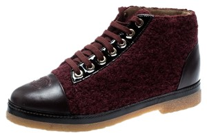 Chanel Tweed Leather High Top Cap Toe Burgundy Boots