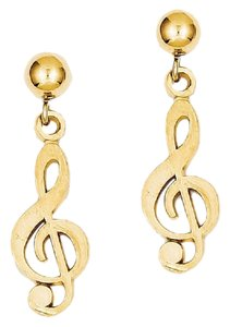 Apples of Gold TREBLE CLEF DANGLE POST EARRINGS, 14K GOLD