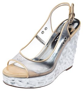 Chanel Metallic Textured Peep Toe Slingback Silver Sandals