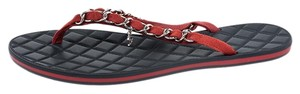 Chanel Suede Detail Chain Red Flats