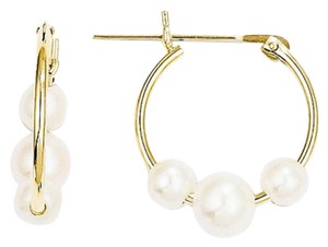 Apples of Gold FRESHWATER CULTURED PEARL HOOP EARRINGS, 14K YELLOW GOLD