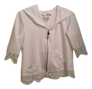 Onque Petites Cotton Short Jacket Cotton Jacket Cotton Hoodie Lace Hoodie With Lace Top White