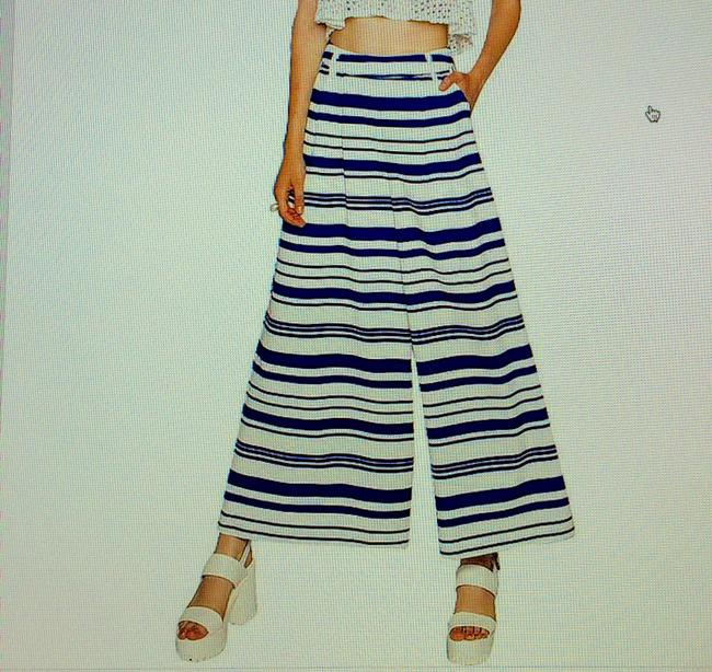 Pixie Market Striped Wide Leg Pants white & Blue