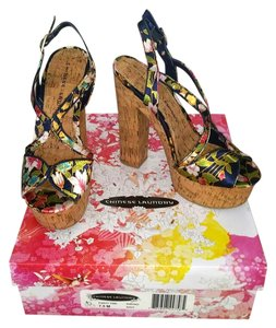 Chinese Laundry Navy Kimono Floral Platform High Heel Strappy Party Time Brand New In Box Never Worn Multi Sandals