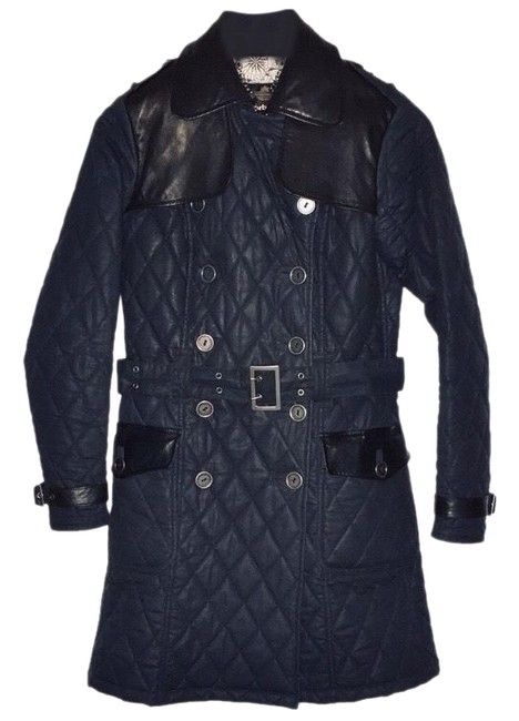 Item - Blue Major Wax Quilted Trench Leather Trim Coat Size 4 (S)