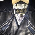 Barbour Blue Major Wax Quilted Trench Leather Trim Coat Size 4 (S) Barbour Blue Major Wax Quilted Trench Leather Trim Coat Size 4 (S) Image 8