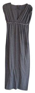 Gray Maxi Dress by Delirious Clothing Braided Short Sleeve