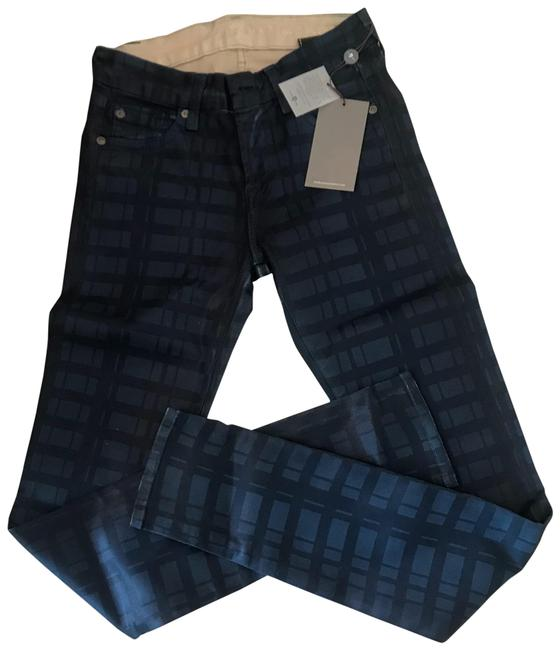 Item - Blue Coated Petrol Check 24 Waxy Skinny Jeans Size 00 (XXS, 24)