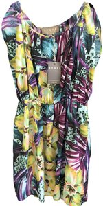 Space Style Concept short dress Multi Color Silk Pull Over Italy Sheer Tropical on Tradesy