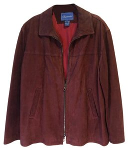 Façonnable Suede Lined Field Riding Brown Leather Jacket