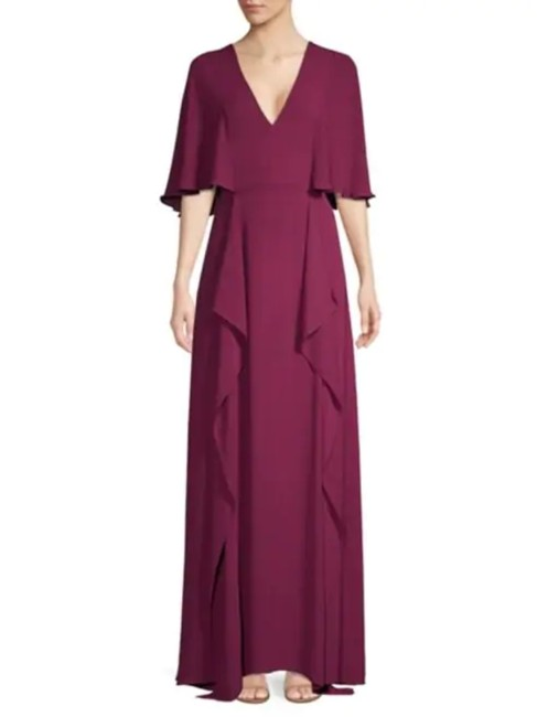 Item - Plum V-neck Flounce Maxi Long Formal Dress Size 4 (S)