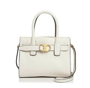 Tory Burch Expensive Luxury Handbag Soft Leather Satchel in Ivory