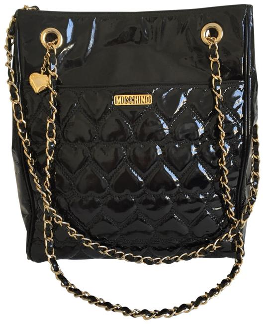 Moschino Quilted Chain Strap Black Patent Leather Tote Moschino Quilted Chain Strap Black Patent Leather Tote Image 1