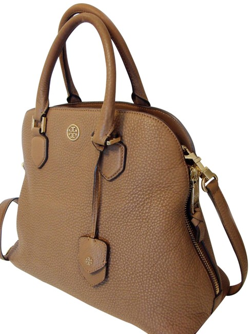 Tory Burch Robinson Open Dome Brown Pebbled Leather Satchel Tory Burch Robinson Open Dome Brown Pebbled Leather Satchel Image 1